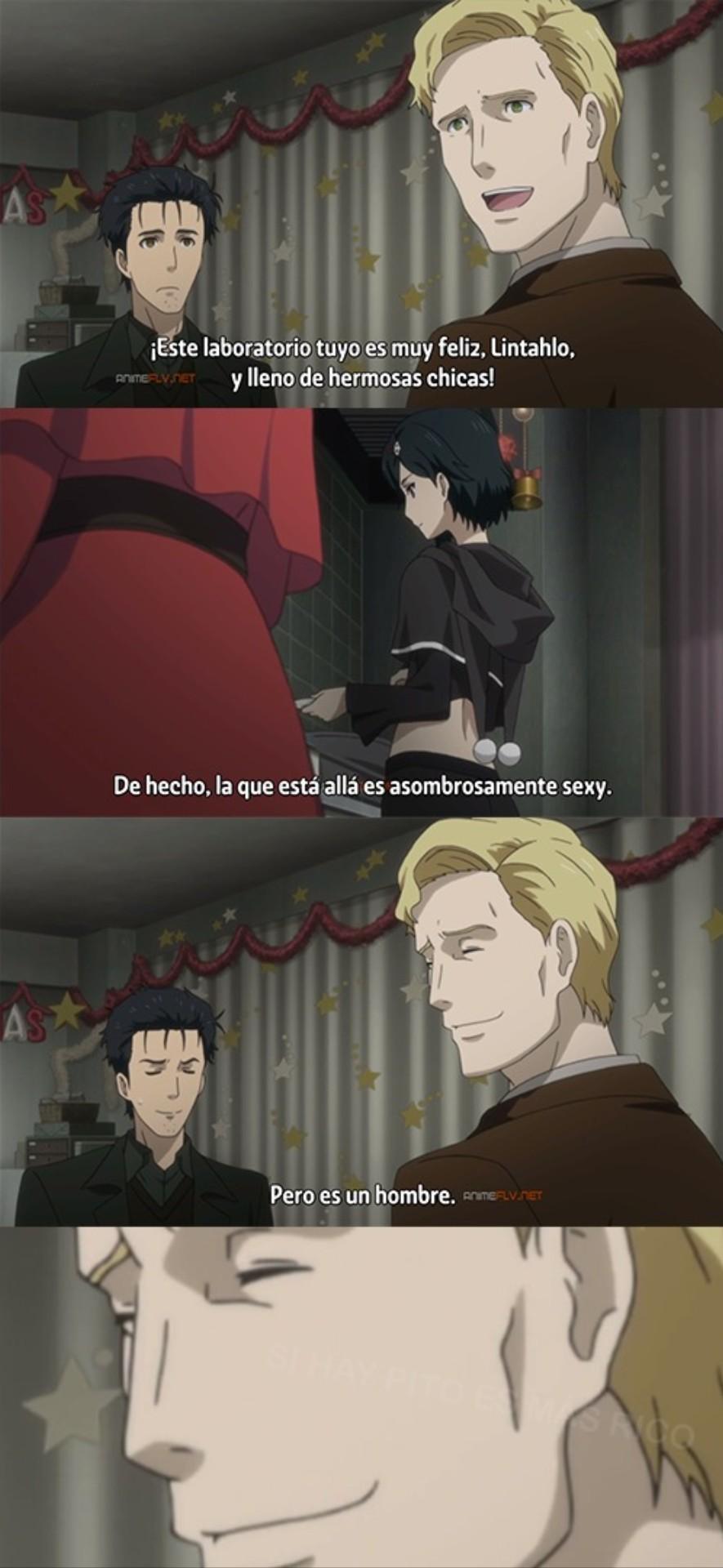 El gringo cae en los trapitos (Anime: Steins;Gate 0) - meme