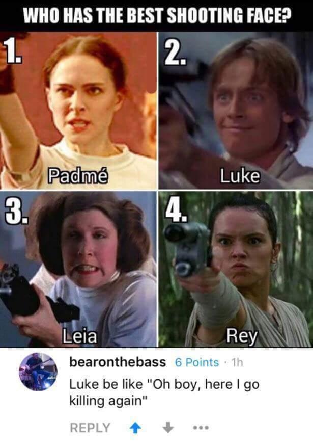Leia has her O face - meme