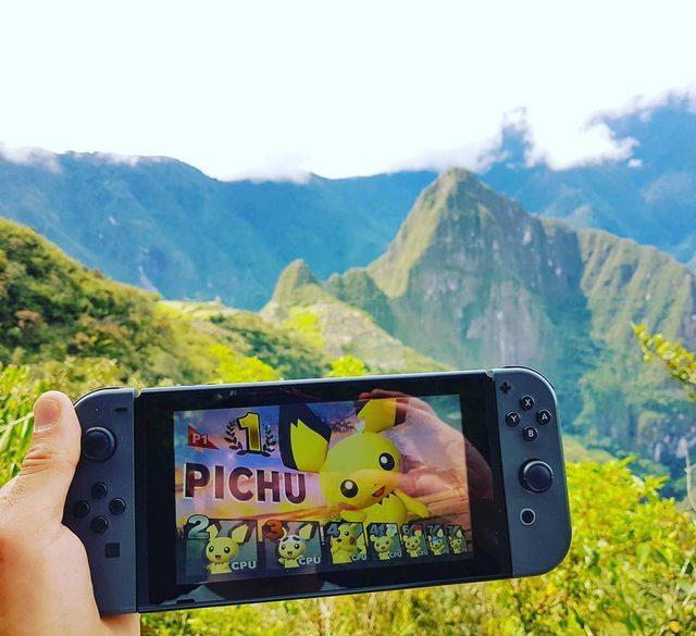 A match of Pichu on Machu Picchu - meme