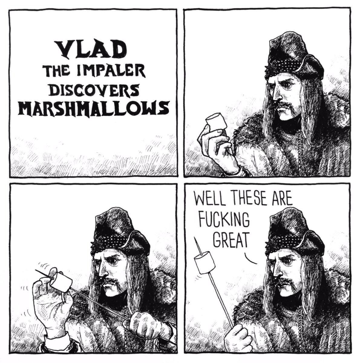 Vlad the impaler discovers marshmallows - meme