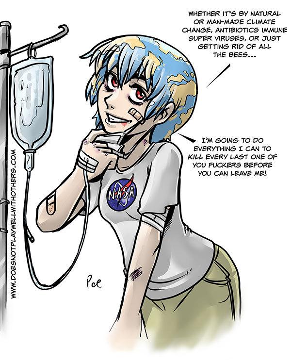 Earth-chan kill me (づ ̄ ³ ̄)づ - meme