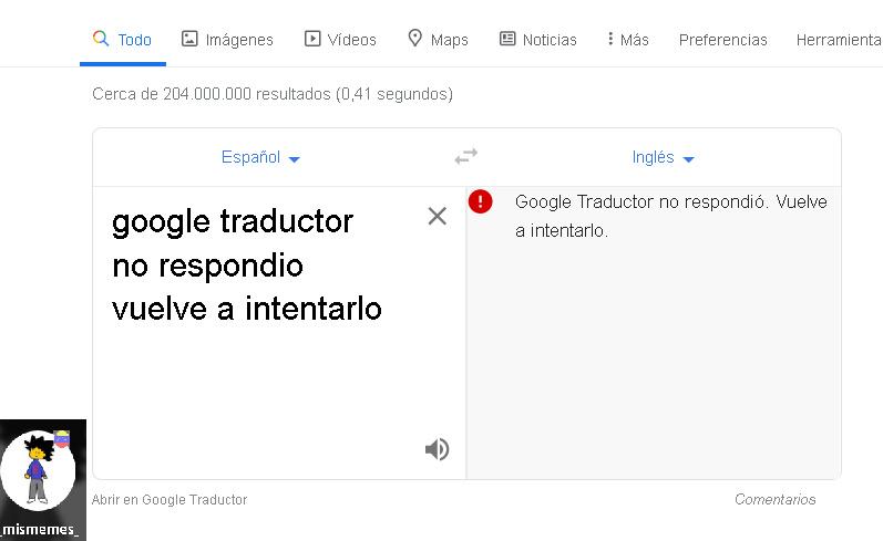 google traductor no respondió´. vuelve a intentarlo - meme