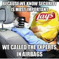Lays airbags.