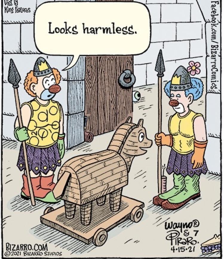 clown car but Trojan horse - meme