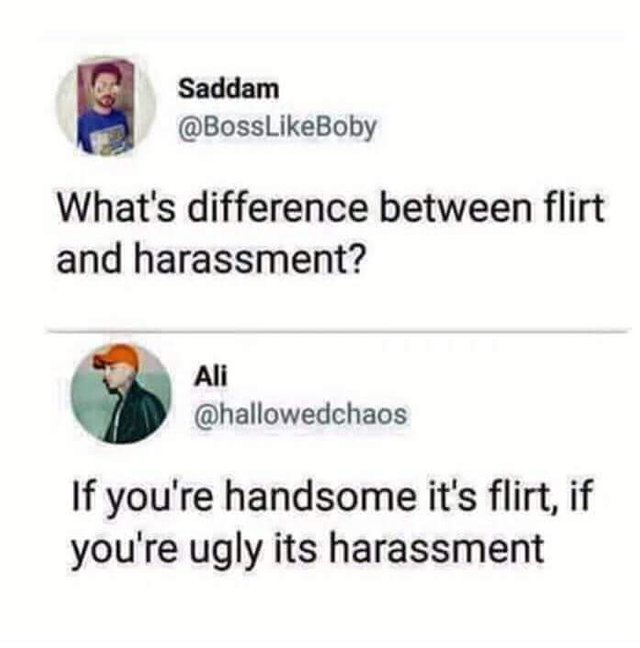 What is the difference between flirt and harassment? - meme