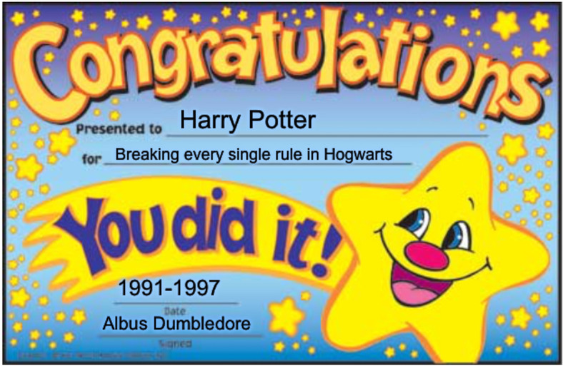 Getting awards for vandalism, only at hogwarts - meme