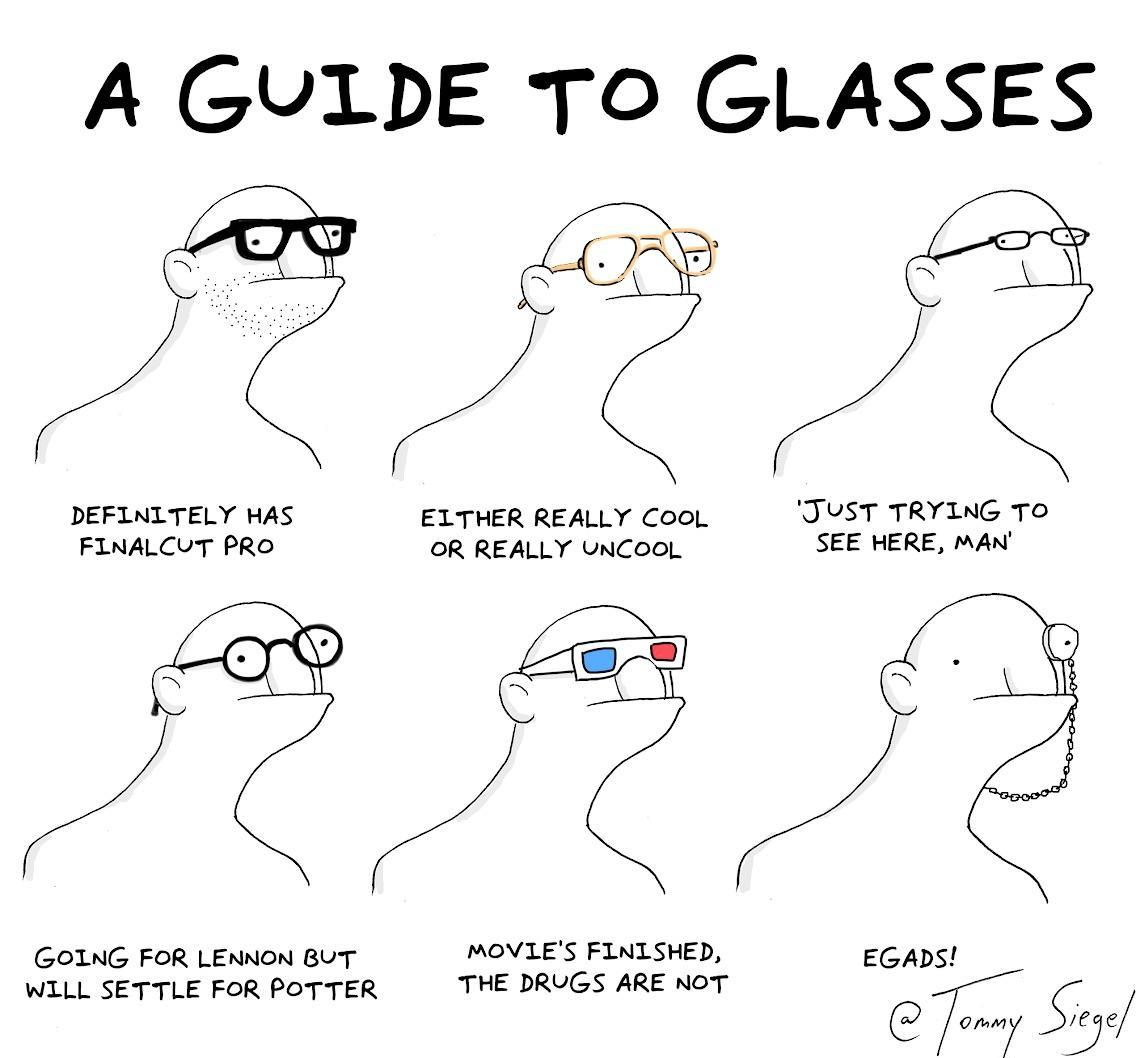 guide to glasses - meme