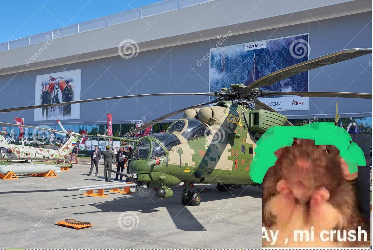 cuando la que se identifica como helicóptero apache de combate va a una expo aeroespacial - meme
