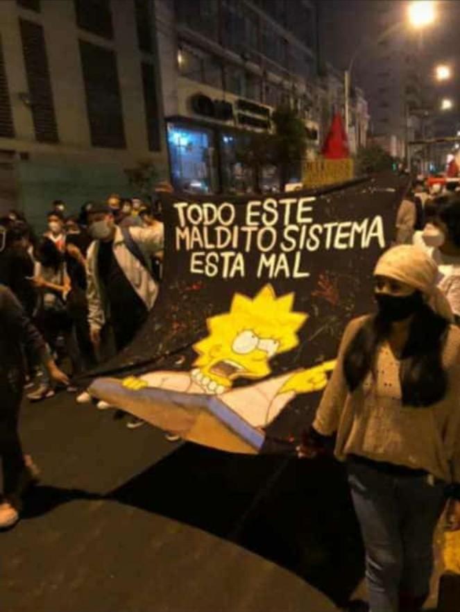 respecto a las protestas en Perú, son cosa seria pero ese cartel me dió risa - meme