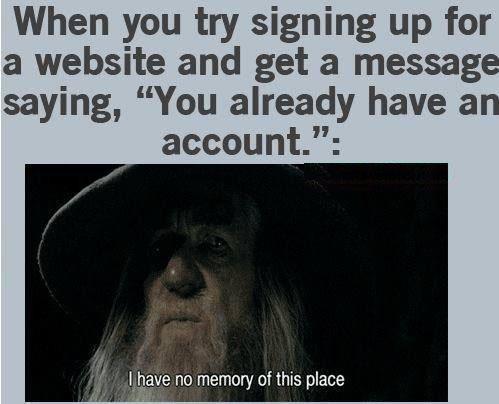 You already have an account - meme