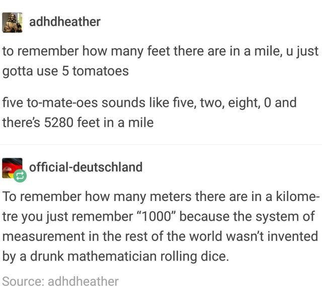 How to remember how many feet there are in a mile - meme