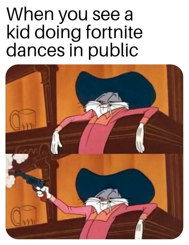 When you see a kid doing Fortnite dances in public - meme