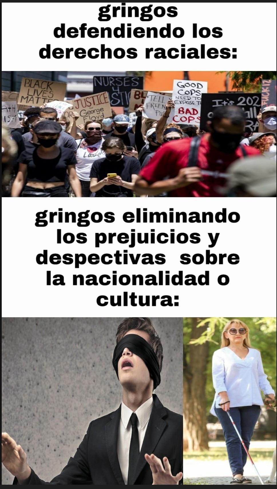 """Si eres mexicano eres un narcotraficante,en no serlo te miran bien,  si eres chino eres el """"coronavirus"""", si tienes una cultura diferente te critican y te atacan... - meme"""