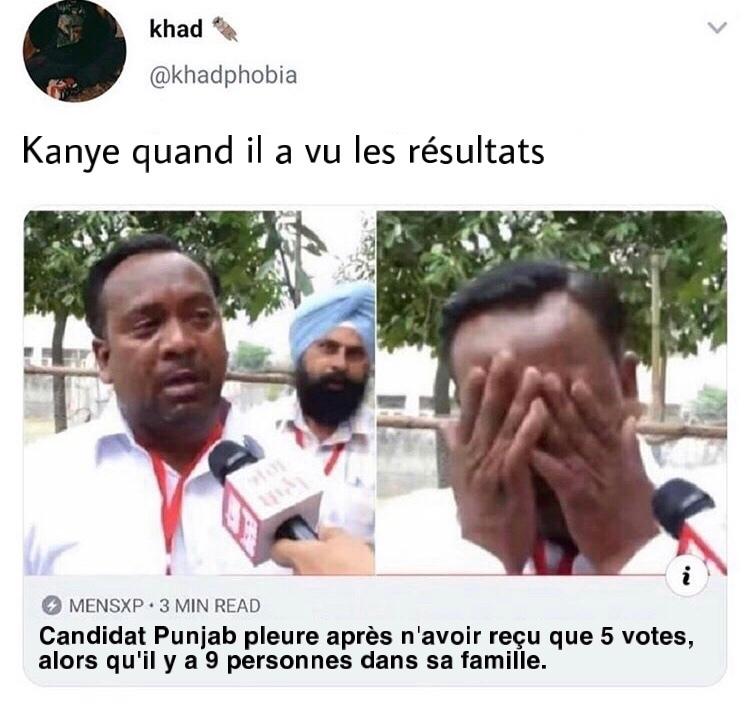 triste vie que la vie de Kanye - meme