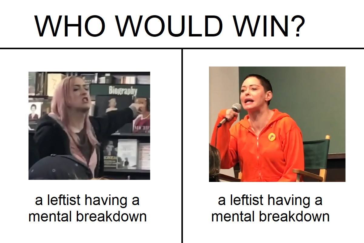 CONTEXT;  chick on the right (Rose McGowan) raped by Harvey Weinstein, wrote a book, went on tour, girl yells at her for being a bitch, baldie cancels all upcoming public appearances. Fuck both of them. - meme