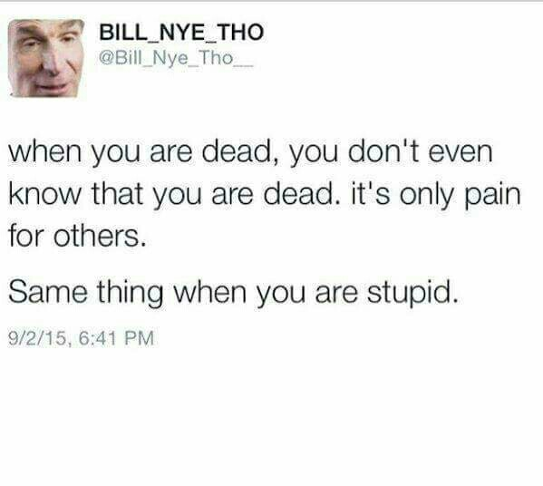 Death and stupidity are the same thing - meme