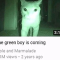 The green boy is coming