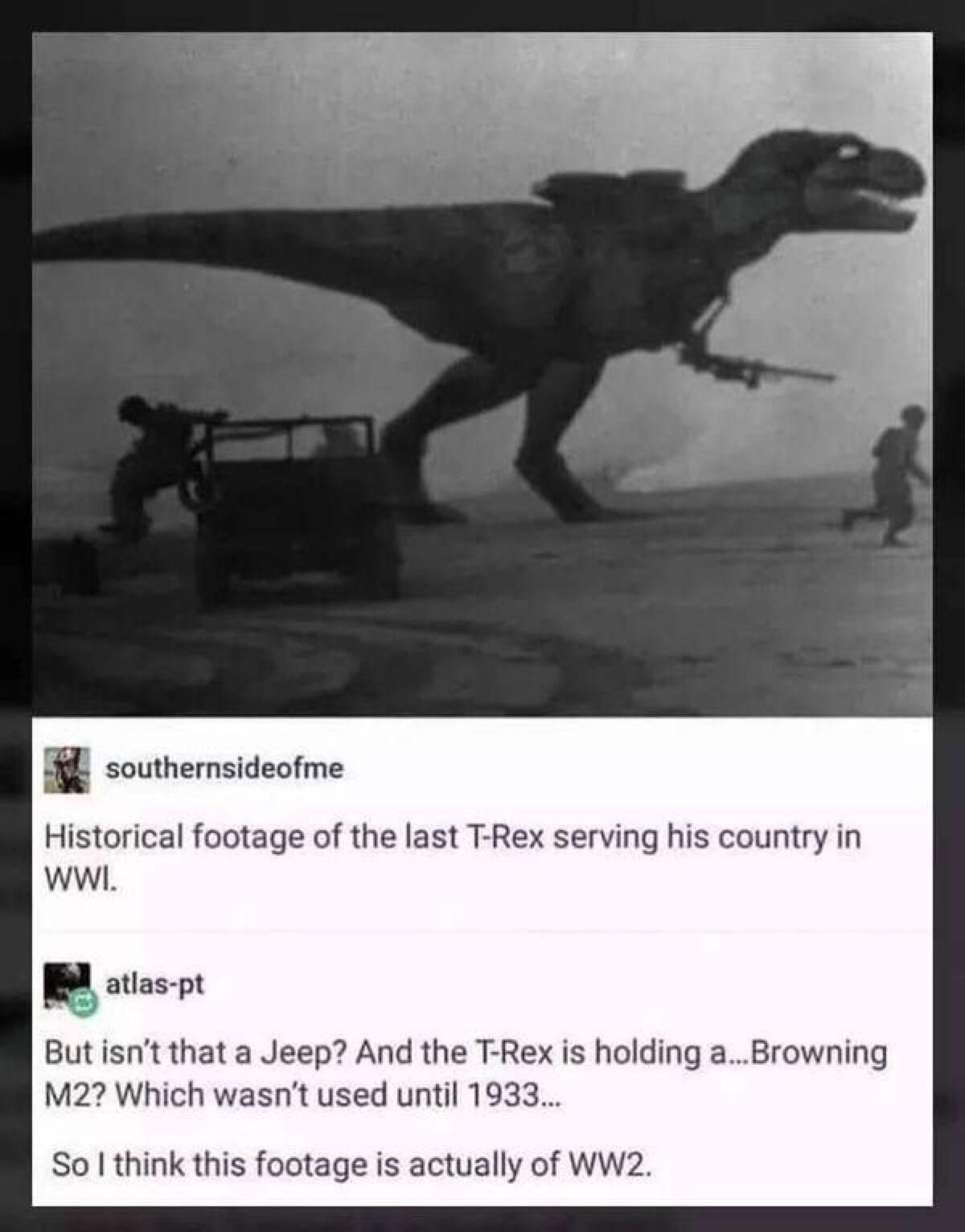 Last T Rex seen alive - meme