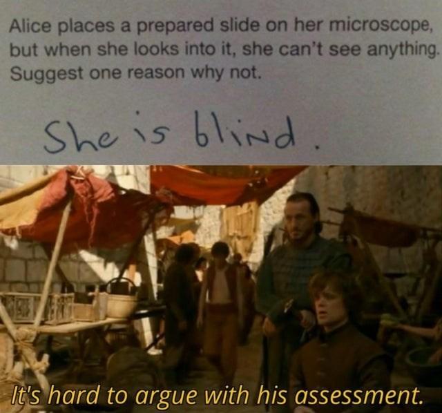 She is blind - meme