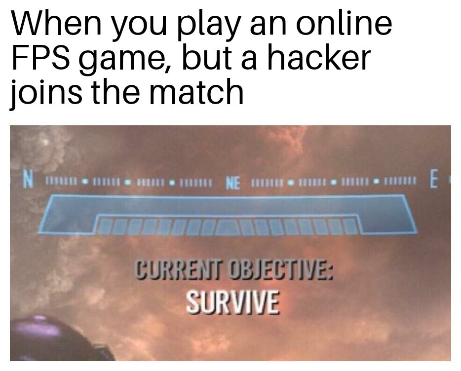 Hackers in online games - meme