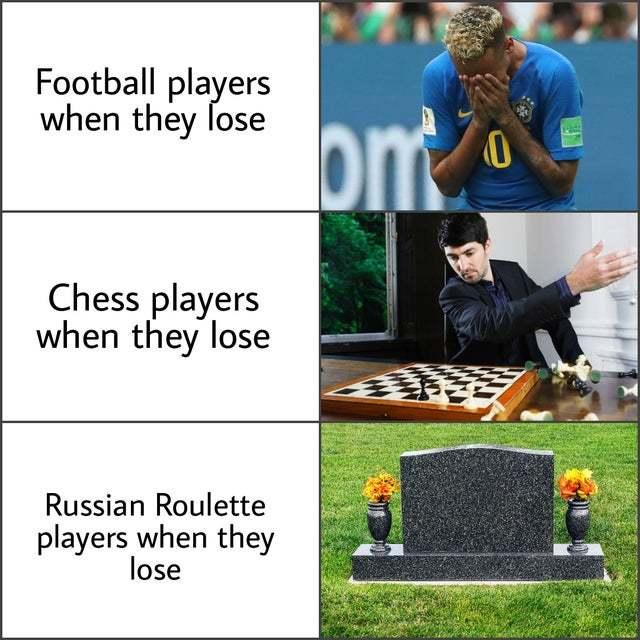 Players when they lose - meme