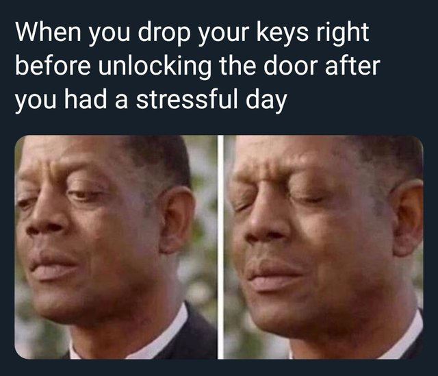 When you drop your keys right before unlocking the door after you had a stressful day - meme