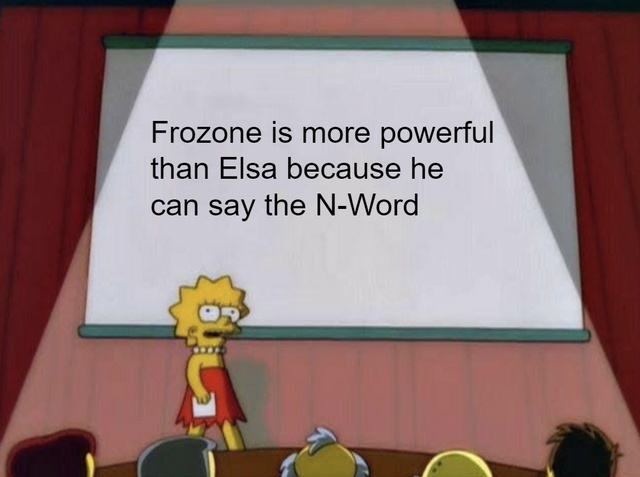 Frozone is more powerful than Elsa because he can say the N-Word - meme