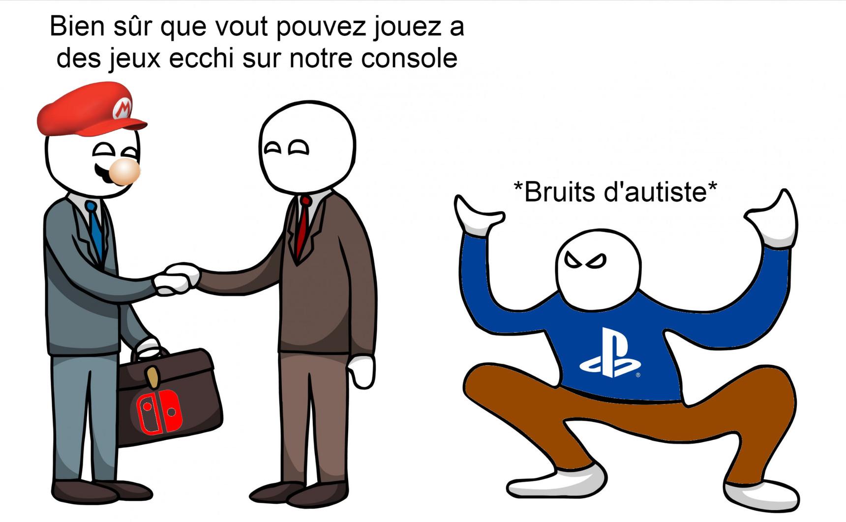 Disclaimer: Je ne traite pas les Joueurs PlayStation d'autistes, j'ai essayé de respecter un format de meme que je n'ai jamais vu en français, N'allez pas Faire la guerre des consoles en commentaires. Amicalement, CaptainDerp.
