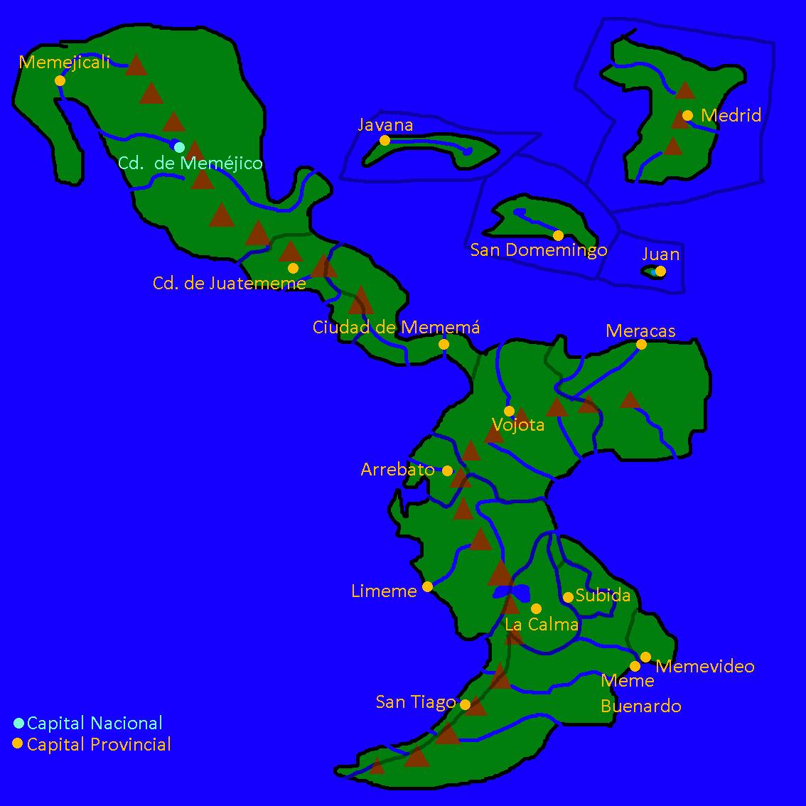 Si la comunidad hispana fuera una país con forma de sus países (tipo)(chistes culeros de meme- en los nombres)(las líneas transparentes son las divisiones de las provincias)(pueden editar el mapa si quieren añadiendo cosas como ciudades)