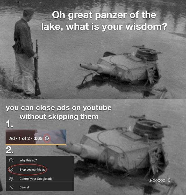 You can close ads on Youtube without skipping them - meme