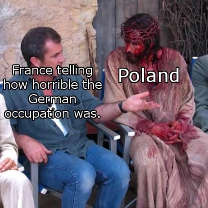 La france qui explique l'horreur  de l'occupation  allemande - meme