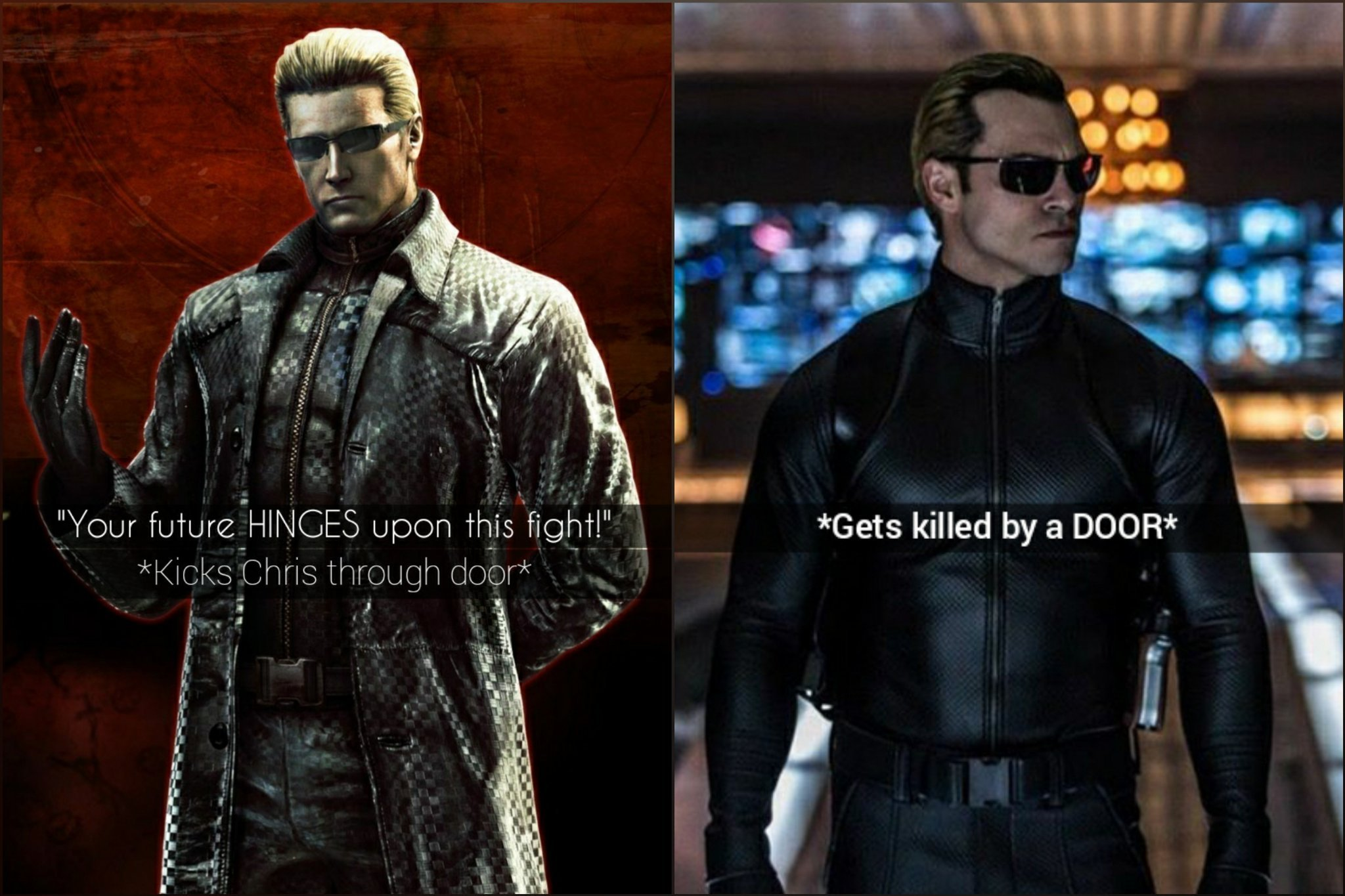 Difference between game and movie Wesker - meme