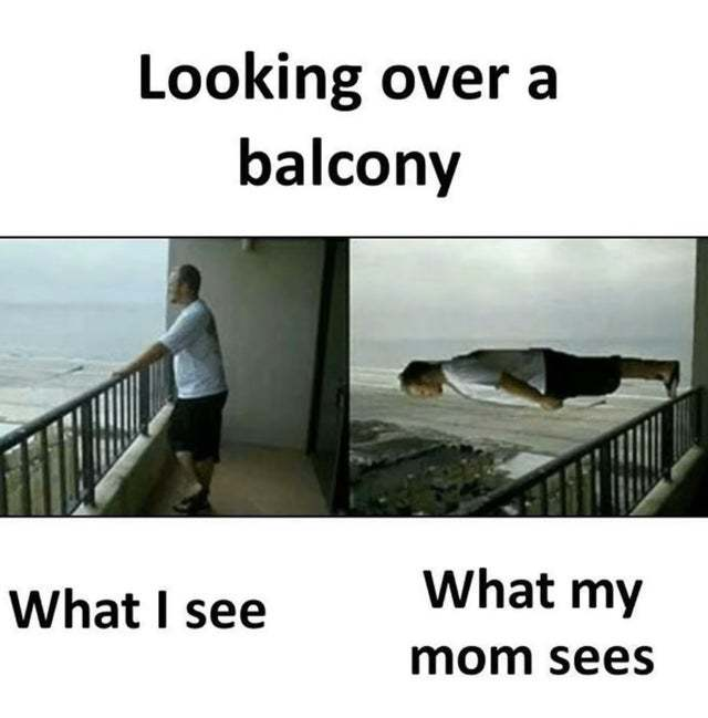 Looking over a balcony - meme