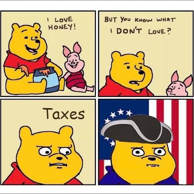 I love honey but I don't love Taxes - meme