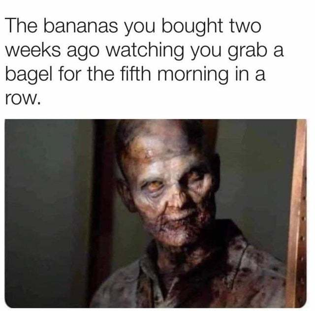 The bananas you bought two weeks ago watching you grab a bagel for the fifth morning in a row - meme