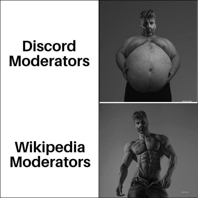 Discord moderators vs Wikipedia moderators - meme