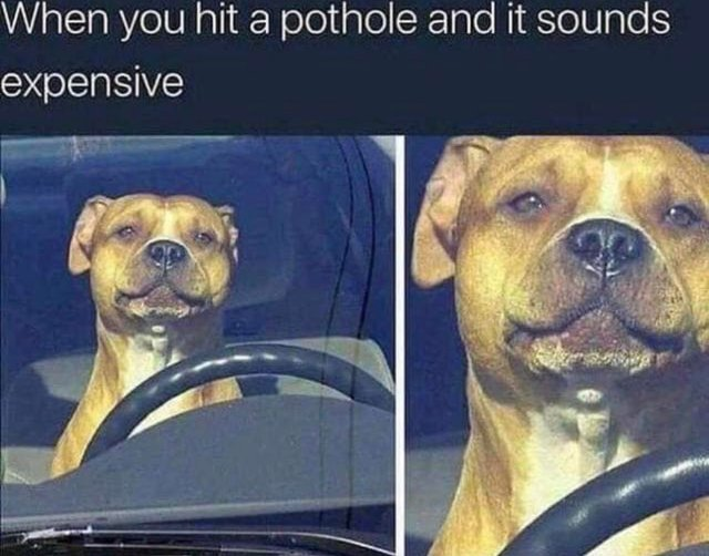 When you hit a pothole and it sounds expensive - meme