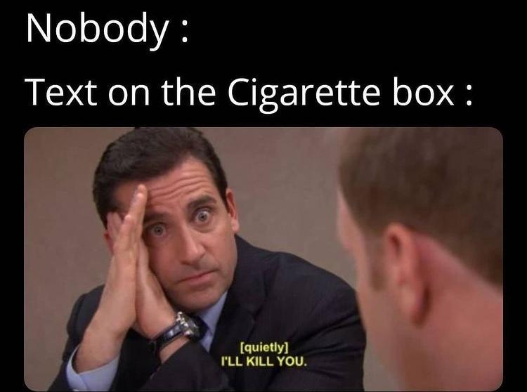 cigarette box warning - meme