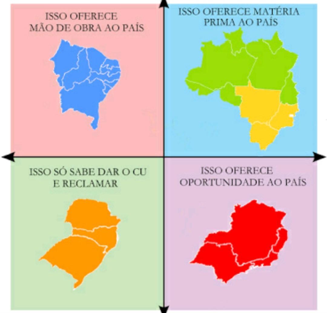 Brasil e a importância das regiões - meme