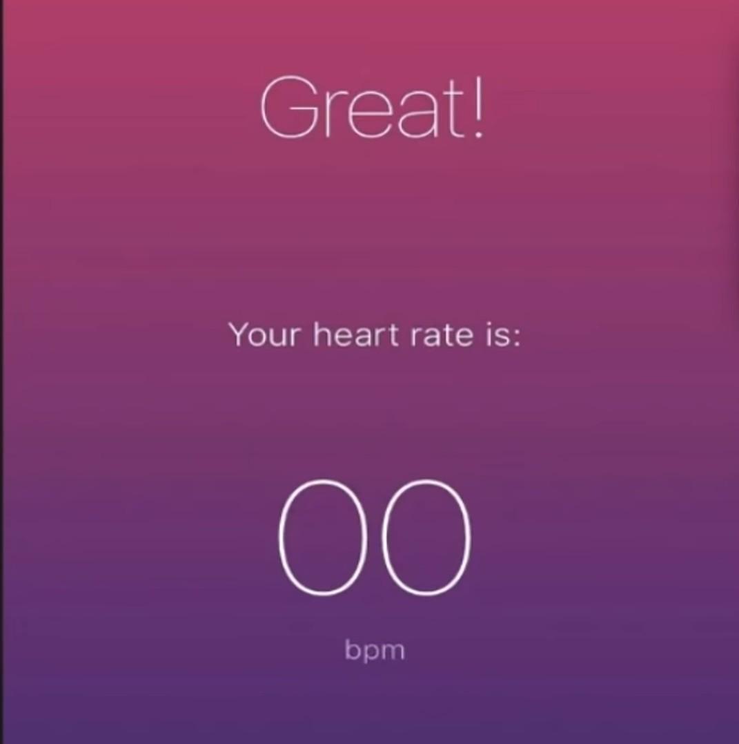 Ótimo - seu ritmo cardíaco é de 00 bpm - meme