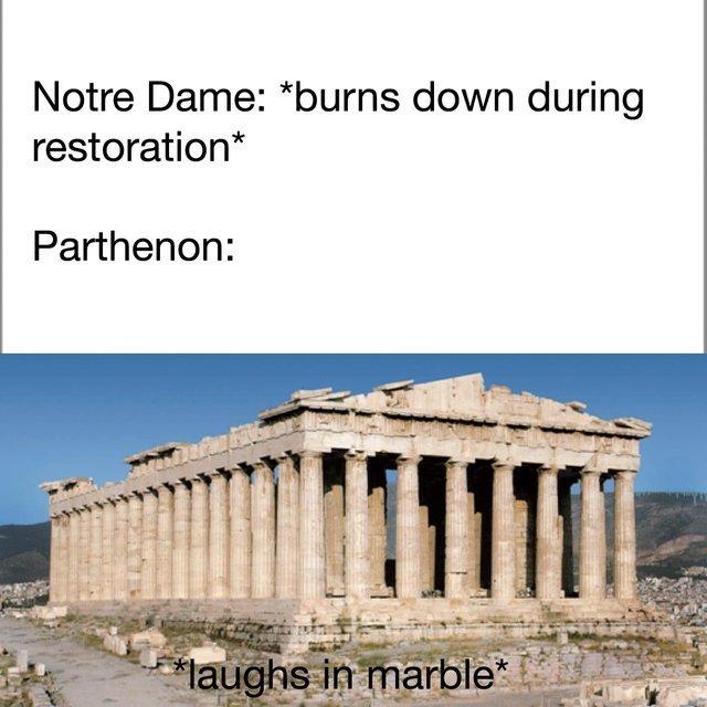 Notre Dame vs Parthenon - meme