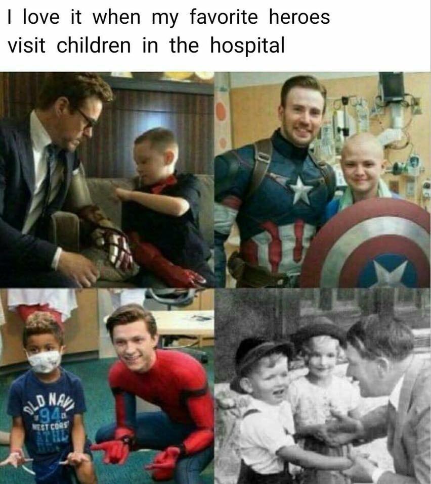 Eu amo isso quando meus heróis favoritos visitam crianças no hospital - meme