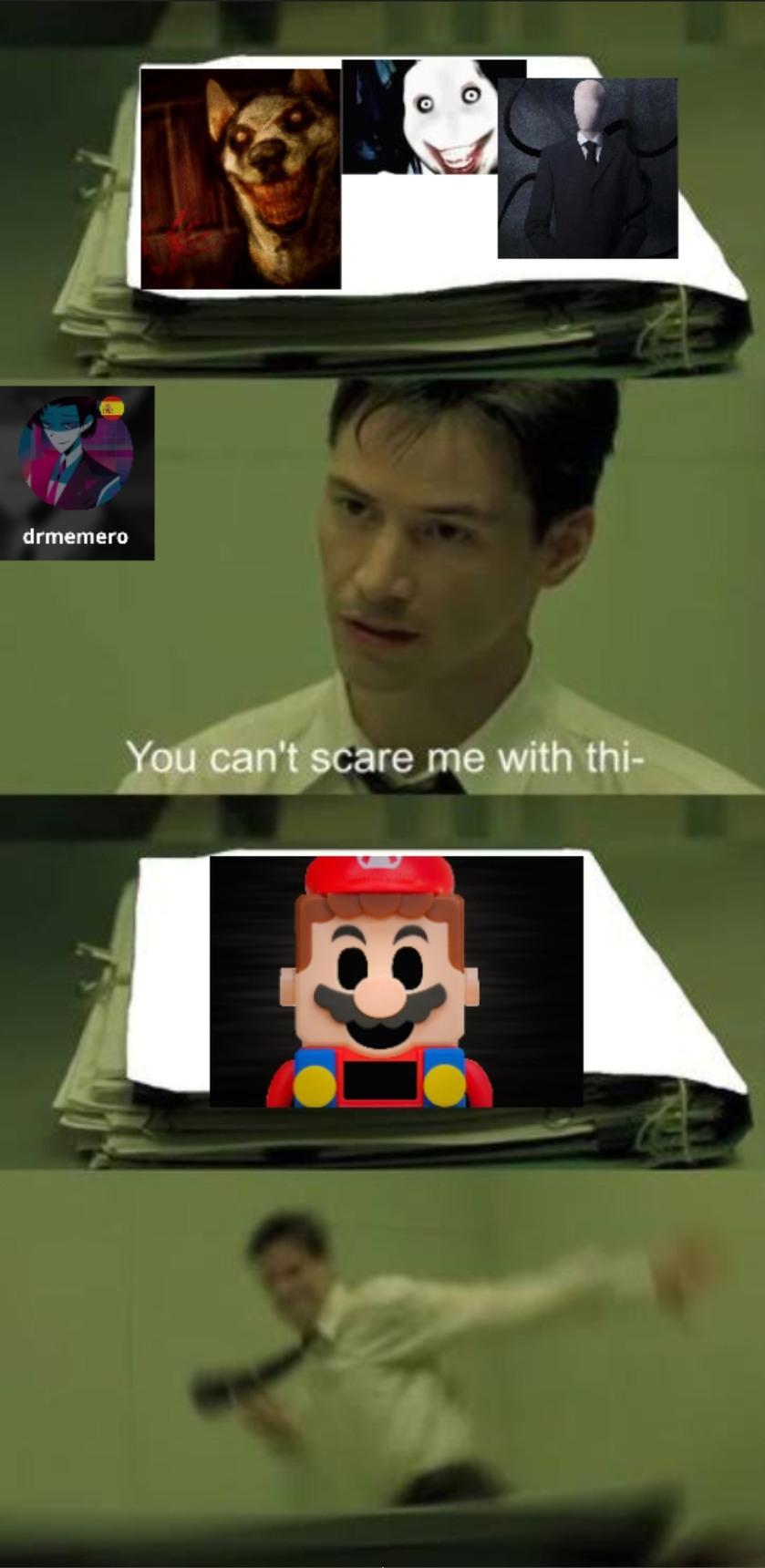 Contexto: Al principio cuando apagas un lego mario da más miedo que un creepypasta - meme