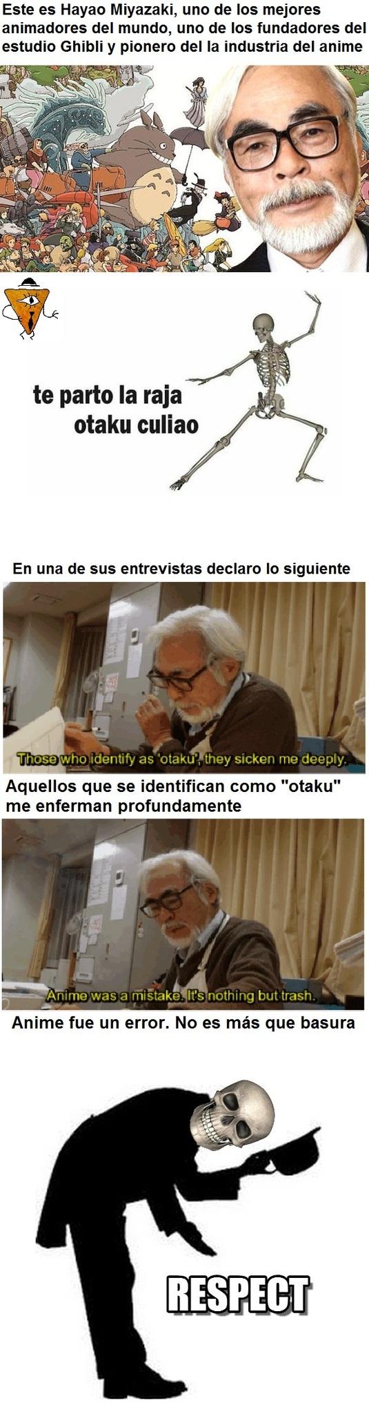 El esqueleto odia a los otakus, no a los animadores - meme