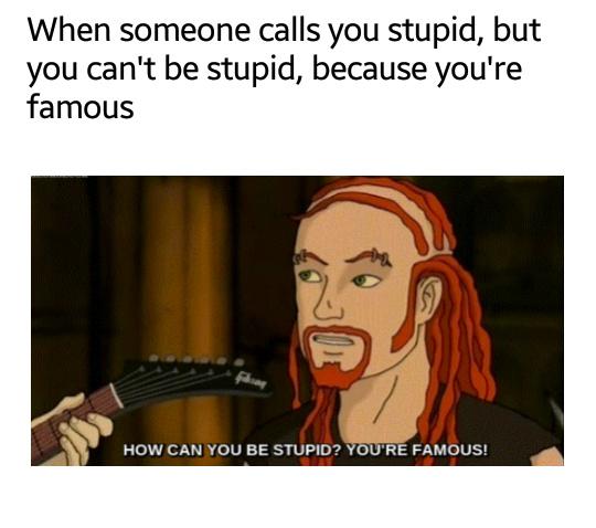 Im not stupid. Im famous - meme