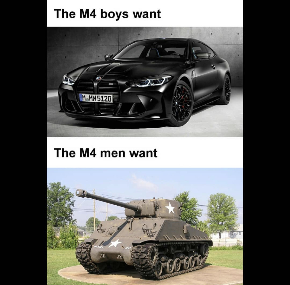 an added bonus when the bmw tailgates you can just rotate the turret and yeet it - meme
