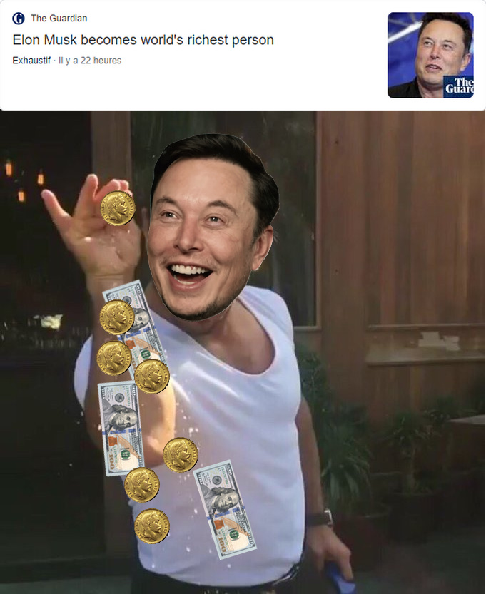 Elon Musk becomes the world's rochest person - meme