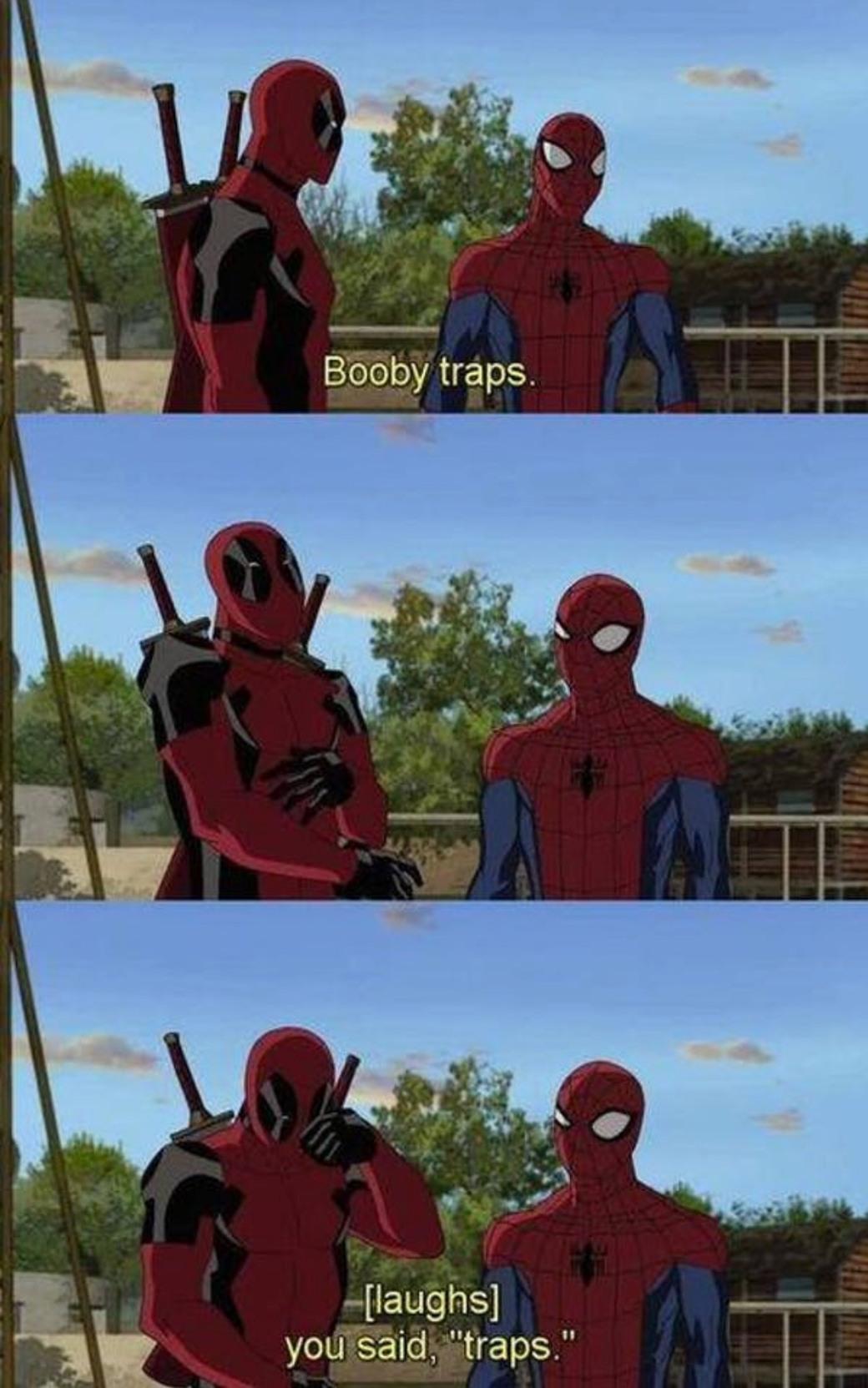deadpool loves spider-man - meme