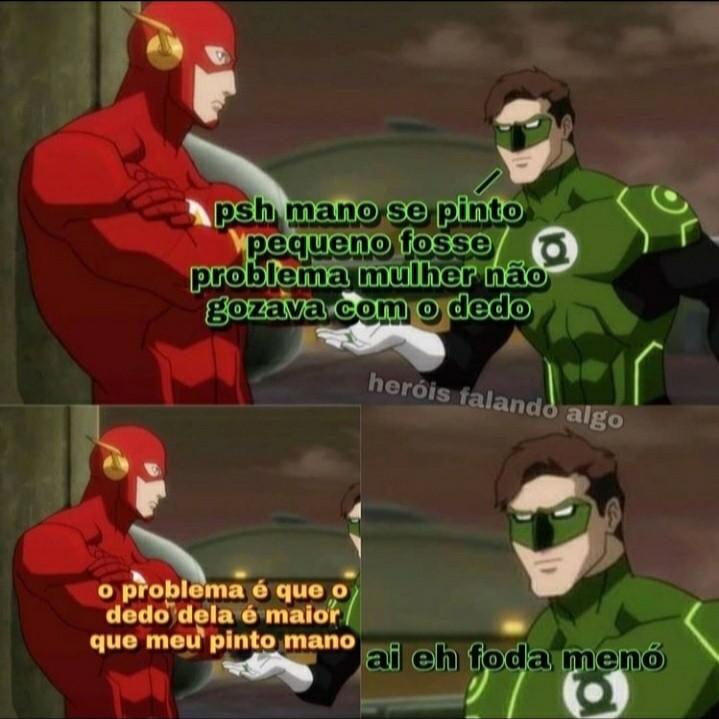 Heróis falando algo - meme