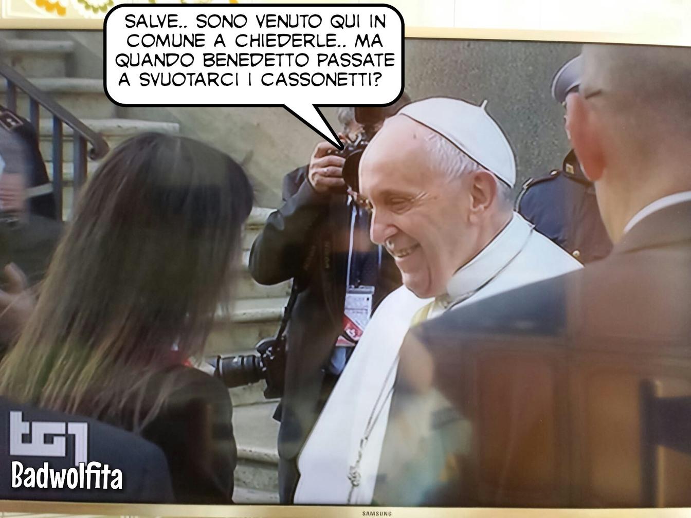 Papa Francesco in comune a Roma - meme